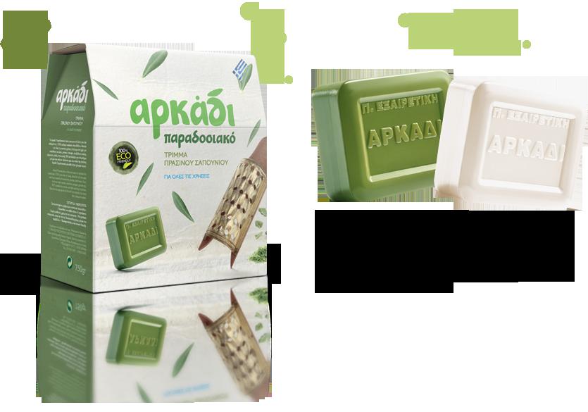 Αρκάδι Κλασσικό Πράσινο Σαπούνι, Σαπούνι Λευκό & Τρίμμα Σαπούνι για κάθε χρήση