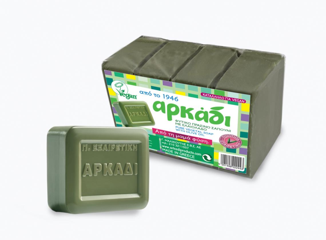 Ειδικές Συσκευασίες 4 τμχ Χ 150 gr Πράσινου Σαπουνιού (Πλάκα) Αρκάδι Classic