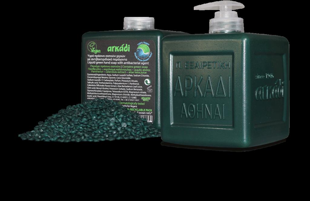 Αρκάδι Υγρό Πράσινο Σαπούνι Χεριών σε Οικολογική Συσκευασία